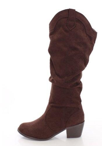Stivali Western Cowboy Cowgirl Alti E Slouchy, 8 Colori Disponibili Pelle Scamosciata Marrone
