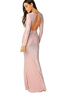 Verdusa Women's Elegant Open Back Slit Glitter Bodycon Cocktai Party Prom Dress