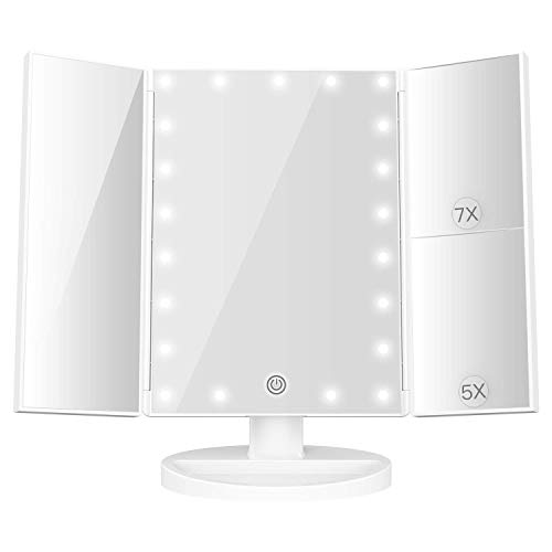BESTOPE Makeup Mirror with Lights, 7X/5X Magnification Vanity Mirror with 21 LED -