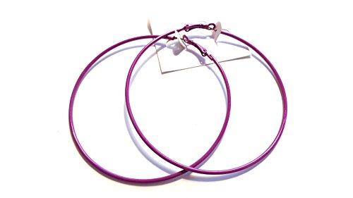 Large Color Hoop Earrings 3 Inch Hoop Earrings Thin Color Hoop Earrings (Purple)