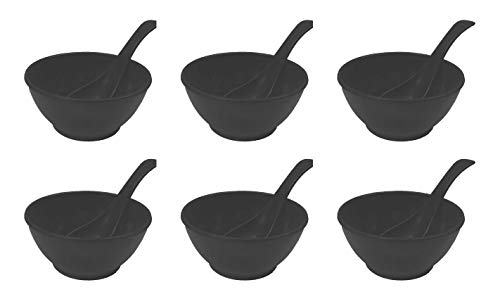 Utensza Plastic 12Pcs Round Soup Bowl Set,240ML  Black