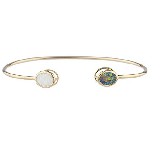 Elizabeth Jewelry Black & White Simulated Opal Oval Bezel Bangle Bracelet 14Kt Yellow Gold Plated Over .925 Sterling Silver