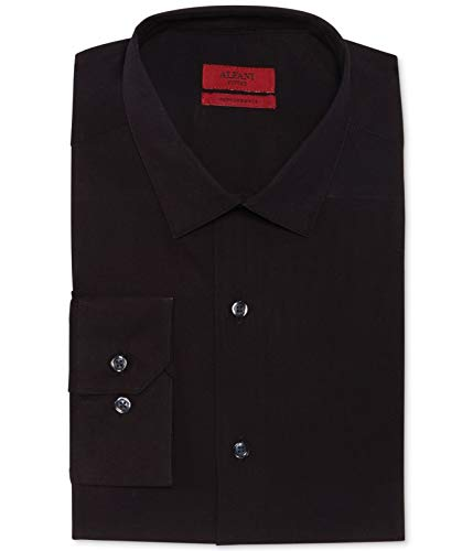 Alfani Mens Performance Solid Button Up Dress Shirt Black 15-15 - Dress Alfani Mens Shirt