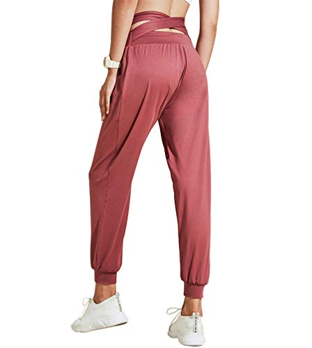 GEMLON Womens Running Pants Athletic Joggers Sweat High Waisted Back Plus Fork Yoga Pants(Red S)