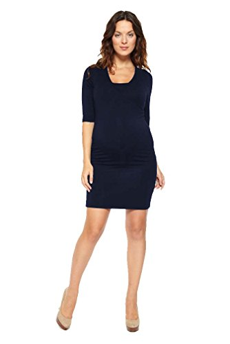 NOM Maternity Nursing Surplice 3/4 Sleeve Dress - Navy - Medium