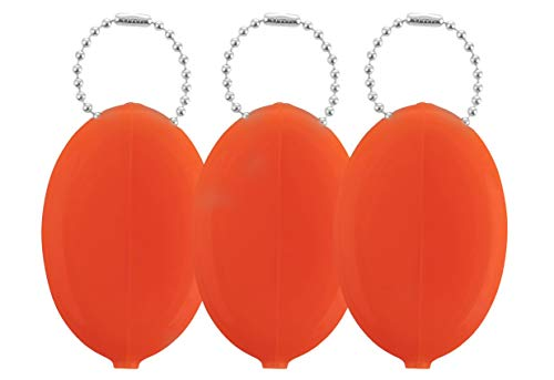 Oval Rubber Coin Purse Change Holder With Chain By Nabob (Orange)