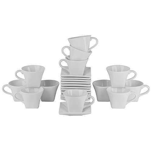 Elegant 10 Stawberry Street Contemporary Design Whittier Square 8-oz. Flared Cups & Saucers, Set of 12 , Oven Proof and Dishwasher Friendly