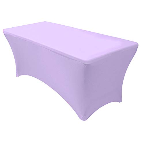 "Your Chair Covers - Stretch Spandex 6 ft Rectangular Table Cover - Lavender, 72"" Length x 30"" Width x 30"" Height Fitted Tablecloth for Standard Folding Tables,Party Table Cloth"