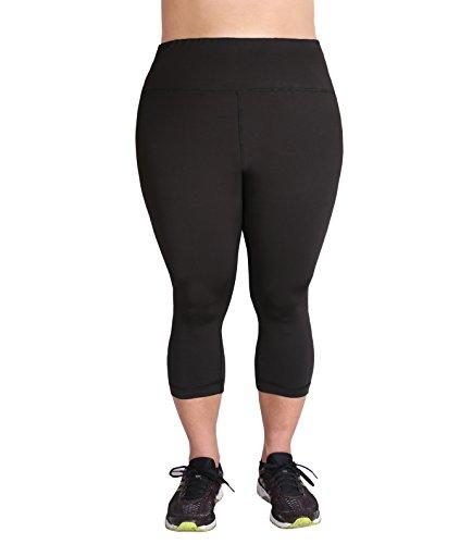 Zerdocean Women's Plus Size High Waist Tummy Control Yoga Capris Black 3X