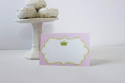 Set of 12 Princess Place Cards, Food Tents, Pink and Gold, One sided ()