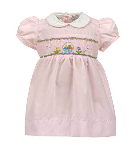 Carriage Boutique Baby Girls Easter Dress - Hand Smocked Easter Bunnies and Eggs Pink