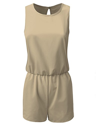 Doublju Elastic Waist Cut Out Back Tank Romper For Women (Made In USA) TAUPE LARGE (Plus Size Rompers)