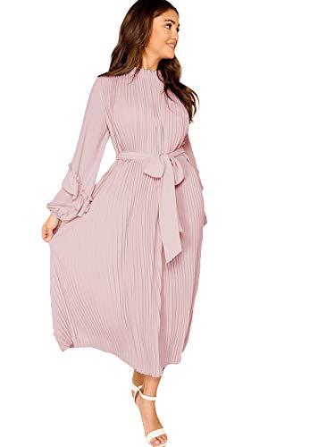 (MAKEMECHIC Women's Elegant Ruffle Bishop Sleeve Self Belted Waist Pleated Long Dress Pink)