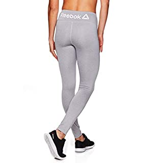 Reebok Women's Leggings Full Length Performance Compression Pants - Athletic Workout Leggings for Women for Gym & Sports - Grey Heather, Small