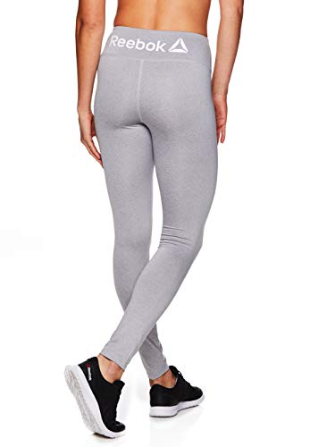 Reebok Women's Leggings Full Length Performance Compression Pants - Athletic Workout Leggings for Women for Gym & Sports - Grey Heather, X-Large
