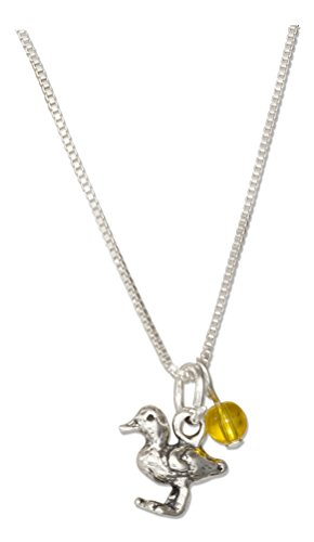 (Sterling Silver 18 inch Baby Duck Pendant Necklace with Yellow Glass Bead)