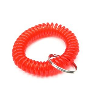 Bluecell Pack of 6 Plastic Wrist Coil Wrist band Key Ring chain for Outdoor Sport (Red) Photo #5