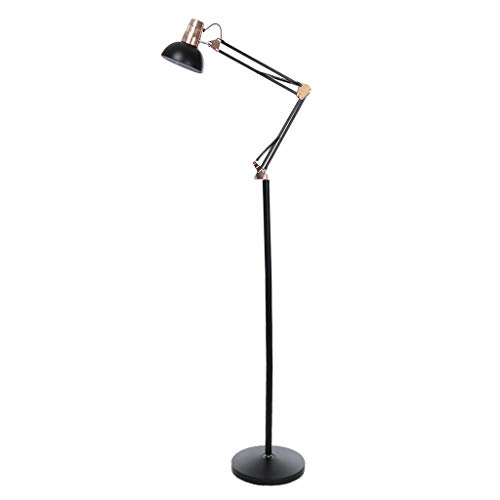 Iusun Floor Lamp Architect Swing Arm LED Bright Reading Standing Pole Light - Dimmable Eye Protection Remote Control Switch-Study, Living Room, Bedroom, Piano Room, Office- Ship from USA (Black)