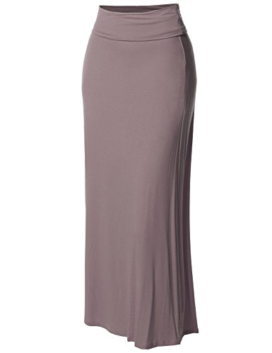 - Stylish Fold Over Flare Long Maxi Skirt - Made in USA Mocha S