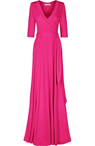 - Bon Rosy Women's #MadeInUSA 3/4 Sleeve Classic Paris Maxi Wrap Dress Summer Wedding Guest Party Bridal Baby Shower Maternity Nursing Fuchsia S(DJ51504-Solid)
