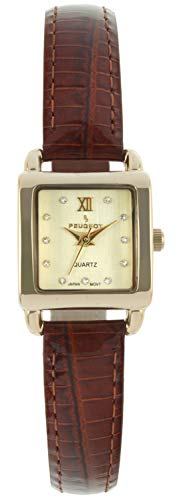 (Peugeot Women's 14K Gold Plated Small Square Skinny Brown Glossy Leather Dress Watch)