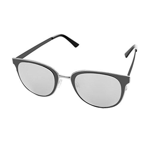 para Montura UV400 Elegante Lentes Negro Polarizadas 100 Gafas Mujer con Moda de Sol Diseño Protección Vintage Estilo Tamaño LooKLooK no Antirreflejos de Fashion Ojos Metálica y y Grande Espejo Gris Espejo con de 0wqpw6