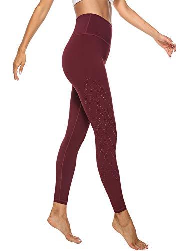 JOYSPELS Leggings Damen, Damen Sporthose mit Atmungsaktiven Löchern & Innentaschen, Sport Leggins