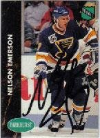 Nelson Emerson St. Louis Blues 1991 Parkhurst Rookie Autographed Card - Rookie Card. This item comes with a certificate of authenticity from Autograph-Sports. Autographed -