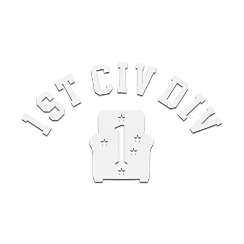 1st Civ Div Decal (White, Single Decal) (Decal Div)
