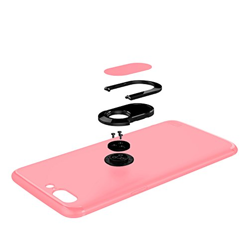 Funda Ultra-Fina de Orzly para el OnePlus 5, Carcasa Protectora Slim-Stand [Anti-Arañazos] para el OnePlus 5 en NEGRO con Stand Integrado en forma de Anillo para Mejor Agarre y Soporte para la Pantall ROSA para OnePlus 5