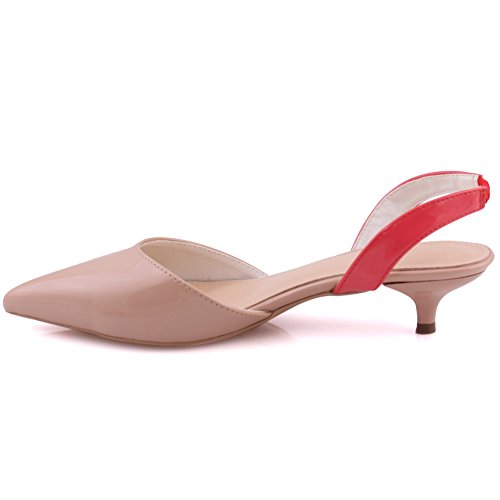 Unze Frauen Lena Spitzen Zehe Low Heels Pumps Kätzchen Wildleder Sandalen Slingback Formale Gerichte UK Größe 3-8 - 011-001 Beige / Pink