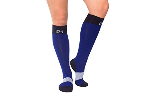 C4 Equestrian Horse Riding & Tall Boot Over the Calf Knee High Socks for Women (Navy)