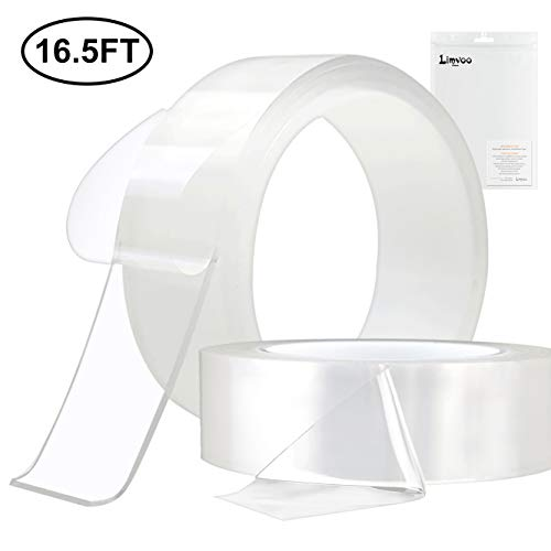 (Limvoo Washable Adhesive Tape nanoTape 5M/16.5Ft,The Reusable Adhesive Silicone Tape,Free to Remove, Reusable Traceless,Stick to Glass, Metal, Kitchen Cabinets or Tile Nano Tape (Transparent, 2mm))