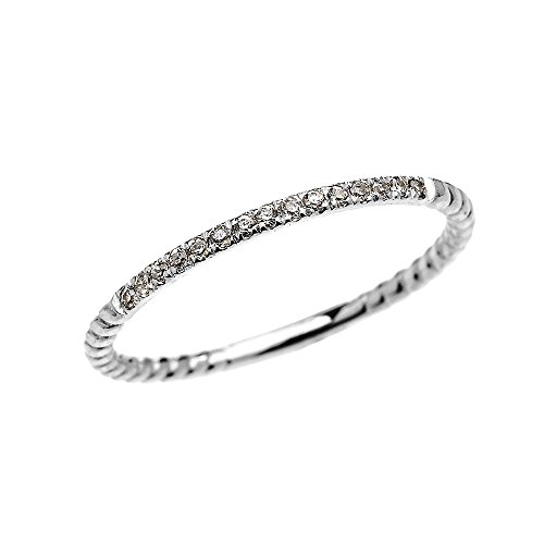 14k White Gold Dainty Diamond Stackable Rope Design Ring(Size 6) (Rope White Gold Diamond)
