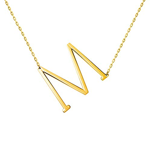 WIGERLON Stainless Steel Initial Letters Necklace for Women and Girls Color Gold and Silver from A-Z Letter M Color -