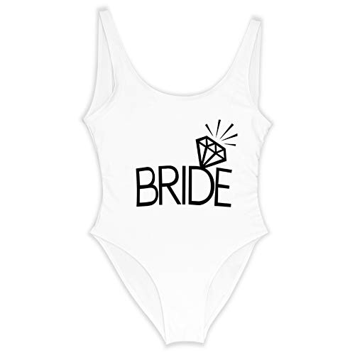 Bestag Team Bride Letter Print Diamond Pattern One Piece Swimsuit Bathing Suits (White Bride, Medium)