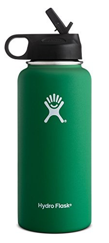 Hydro Flask Vacuum Insulated Stainless Steel Water Bottle Wide Mouth with Straw Lid (Forest, 32-Ounce)