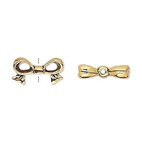 4 Antiqued Gold Plated Pewter 3D Bow Beads for Jewelry Makin