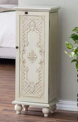 Jewelry Armoire - Antique White Wood Ornate Door with Mirror Free Standing - Cozy Home of Your Jewels ()