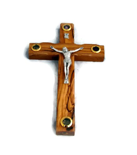 (HolyRoses Olive Wood Christian Western Wall Cross Crucifix with 4 Vials Holyland Essense | Fankincense, Holyland Earth, Dried Olive Tree Leaves Rose Petals | Wall Hanging (8