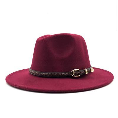 New Winter Autumn Wool Women Men Belt Ladies Fedoras Top Jazz Hat Round Caps Bowler Hats Wine red 55-58cm