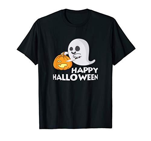 Halloween Ghost Carving a Pumpkin T-Shirt -