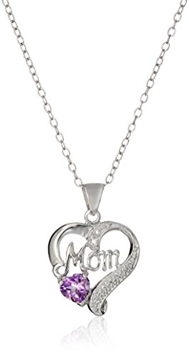 Sterling-Silver-Mom-Heart-Pendant-Necklace-with-Amethyst-and-Diamond-Accent