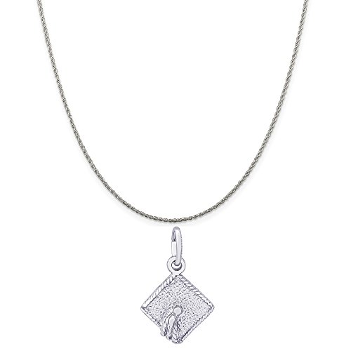 Genuine Rembrandt Charms Sterling Silver Graduation Cap Charm on a Sterling Silver Rope Chain Necklace, 20