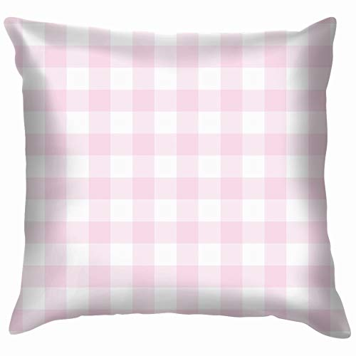 Pink Checkered Tile Gingham Pillow Case Throw Pillow Cover Square Cushion Cover 12X12 Inch -