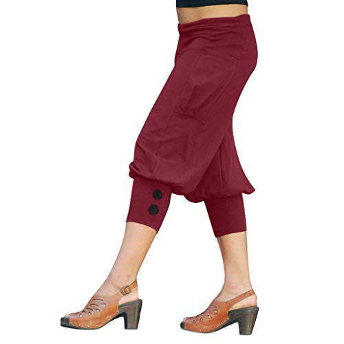 JOFOW Harem Pants Womens Capri Solid Loose Casual Bloomers Yoga Low Waist Side Pockets Soft Comfy Saggy Pajamas Trousers (3XL,Red)