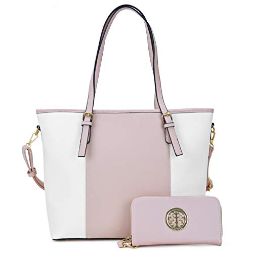 Dasein Women Two Tone Handbag Top Handle Satchel Purse Totes Work Shoulder Bag With Matching Wallet