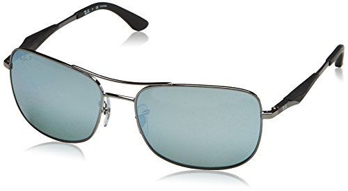 (Ray-Ban Men's RB3515 Square Metal Sunglasses, Gunmetal/Polarized Silver Flash, 61 mm)