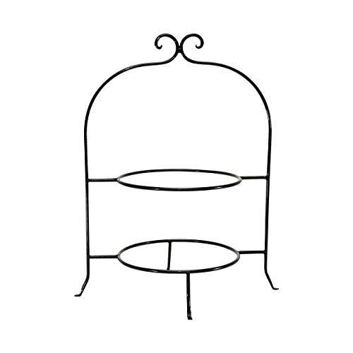 (WROUGHT IRON TWO TIER PLATE RACK, 8 INCH RINGS-16.5 INCHES HIGH)