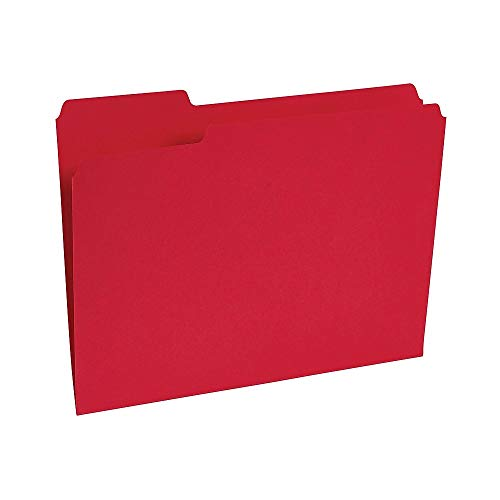 (Staples 224519 Colored File Folders 1/3-Cut Tab Letter Size Red 100/Box (224519))